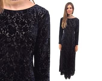 On Sale - 90s Burnout Velvet Dress, Floral Velvet Dress, Body Con Dress, Cut Out Back, Floral Velvet Dress, Sheer Dress Δ size: sm / md
