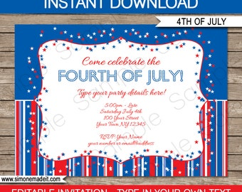 July 4th Invitation Template - July Fourth - INSTANT DOWNLOAD with EDITABLE text - you personalize at home