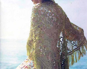 1970s VINTAGE CROCHET PATTERN to make Lacy Summer Shawl/Wrap, Boho/Gypsy/Romantic/Retro Instant Download Pdf from GrannyTakesATrip 0274