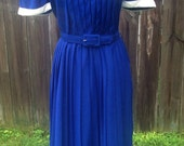 1970's Does 1940's Royal Blue Collared Preppy School Girl Dress