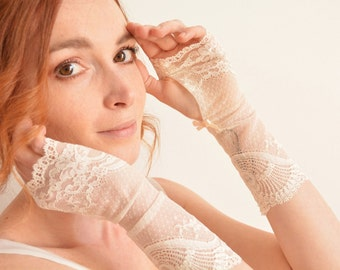"Long bridal fingerless gloves - Ivory French lace ""Aimée"""
