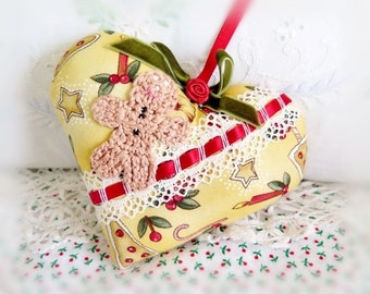 Heart Christmas Ornament 5 inch Heart DOOR Hanger, GINGERBREAD, Primitive Handmade CharlotteStyle Decorative Folk Art