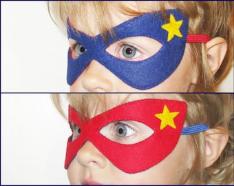 Reversible Superhero felt mask (2 years - adult size) - Red Blue yellow star - fun Birthday party favor Photo prop Dress up play accessory