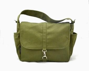 VESTER // Olive / Lined with Beige / 105 // Ship in 3 days // Messenger / Diaper bag / Shoulder bag / Tote / Canvas Bag / Gym bag
