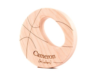 personalized basketball wooden teether toy - an eco-friendly all natural toy for sports lovers, safe teething and grasping for new baby