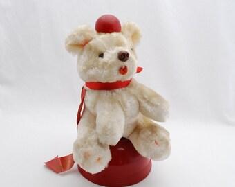Vintage Musical Rotating Bear Music Box Display Toy - Brahms's Lullaby - 1950's - Stuffed Plush Teddy Bear