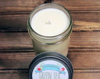 Green Tea Soy Wax Candle in 8 oz. Jelly Jar - Green Tea Relaxing Unisex Candle for Birthday, Mother's Day, Housewarming, Home, Hostess Gift