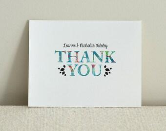 Wedding Invitation Thank You card - Rustic Woodland Tree - DIY Printable PDF Template - Blue Paisley