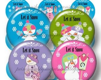 SNOWMAN, Digital Collage Sheets, Bottle Cap Images, Let it Snow, Snowman 1 Inch Circles, Instant Download, Christmas Bottle Caps, Cabochons