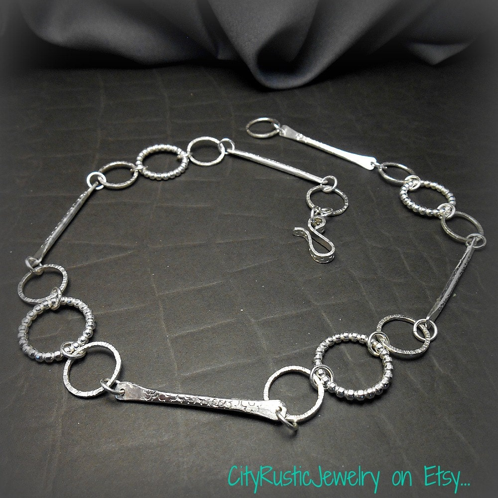 Forged Link Chains : Forged sterling silver chain necklace with by