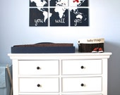 """come fly with me. world map with airplane. 6- 12""""x12"""" canvas. oh the places you will go. custom colors hand painted original nursery art"""