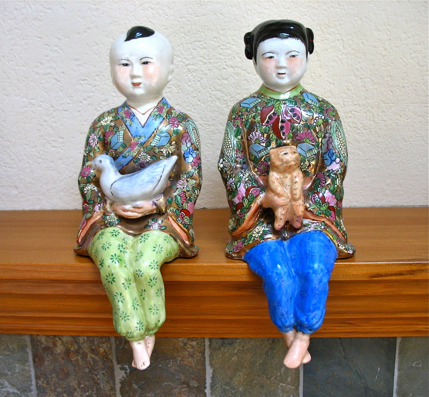 Large Asian Shelf Sitters Boy And Girl 12 By DstefanTreasures