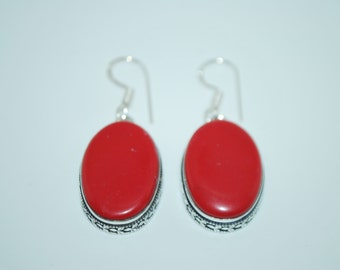 Red coral 925 silver dangle drop earrings with healing properties