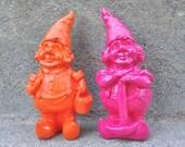 Hot Pink Gnome Dwarf Elf Figurine Pop Art Kitsch Decor