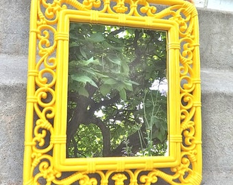 Sunny Yellow Bright Ornate Wall Mirror Vintage Bright Scrolly