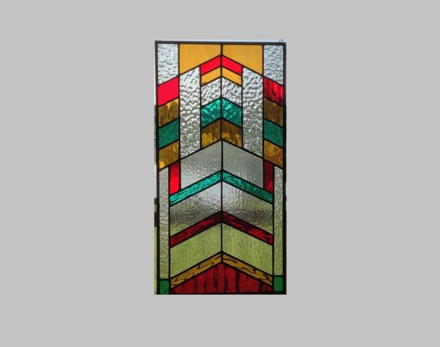 Arts and crafts stained glass window panel chevron by sghovel for Arts and crafts glass