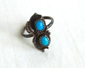 Boho Turquoise Ring Size 6 .75 Southwestern Jewelry Vintage Western Ring Turquoise Duo