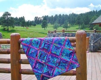 FIRE & ICE  --Dramatic Kaffe Fassett inspired lap quilt