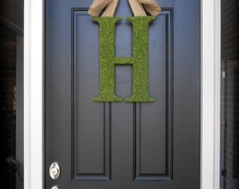 Fall Wreath.  All Season Wreath.  Custom Moss Letter Wreath with Rustic Burlap Bow.  A-Z.  Multiple Sizes.  Simple Chic.