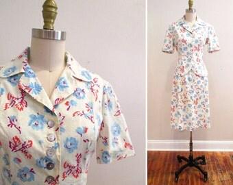 Vintage 1940s Dress | Floral Cotton 1940s Blouse and Skirt Set | 1940s Suit | size medium
