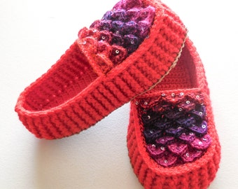 Red Dragon Scale Loafers - Adult Sizes - Crocodile Slippers with Hemp Soles - Made to Order