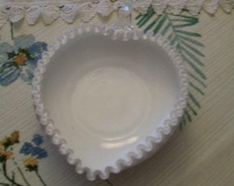 Fenton Heart Dish Milk Glass Silver Crest Vintage