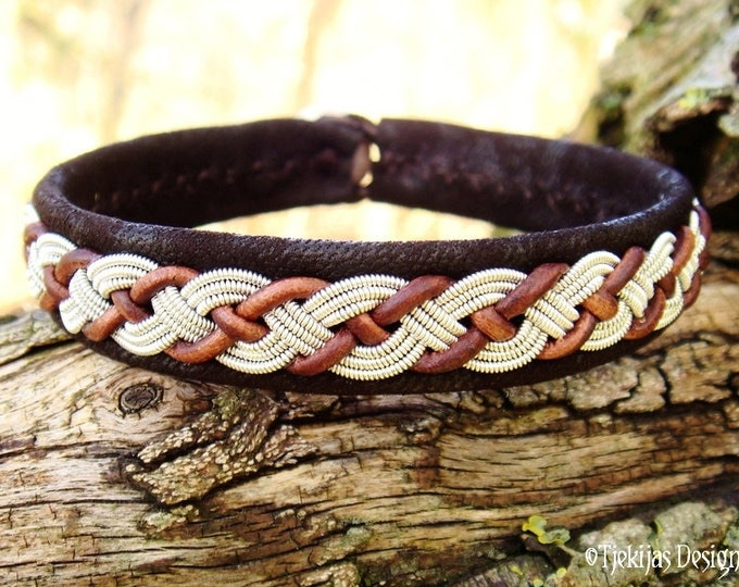 Custom Handmade Swedish Sami Viking Bracelet VALHAL in Dark Brown Lambskin with braided spun Pewter Braid and Antler Button.