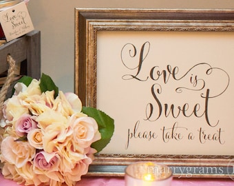 Love is Sweet Candy Buffet Dessert Station Table Card Sign - Wedding Reception Seating Signage - Matching Numbers Avail. SS07