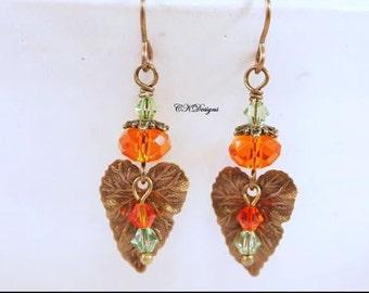 Victorian Style Earrings, Brass Leaf Earrings, Fall Earrings, Swarovski Crystal Dangling Beaded Pierced Earrings. CKDesigns.us