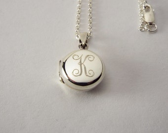 Personalized Sterling Silver Round Locket Petite 1/2 Inch Custom Engraved - Hand Engraved