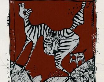 Original Screenprint Zebras,  Serigraphy by  Enrique Badaro Nadal for Club del Grabado de Montevideo, 1987