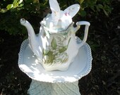 Mint Green Teapot Garden Yard Art - Butterfly & Lily of the Valley , Upcycled