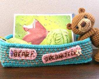 crochet PATTERN ONLY - Beary Organized - a basket/desk organizer with an amigurumi bear - PDF file