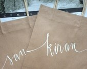 Custom Kraft Paper Bag with White Calligraphy - for Amanda