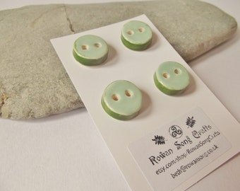 Ceramic Round Button Set of 4  in Mint Green and Mid Green