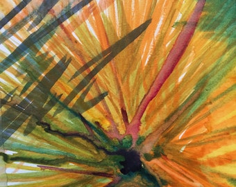 Original Watercolor Abstract Flowerline Painting