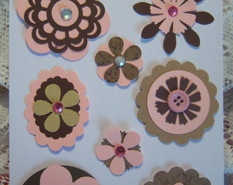 Handmade Paper Cardstock Embellishments to use for your cards,scrapbooking and tags.