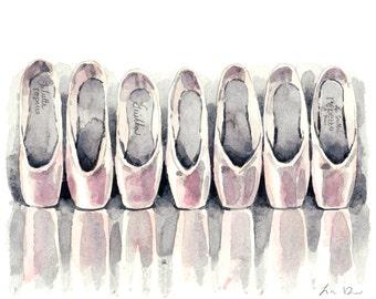 Pink Satin Pointe Shoe Ballet Slipper Collection - ORIGINAL Watercolor Painting - Ballerina En Pointe Dancer Paris Repetto