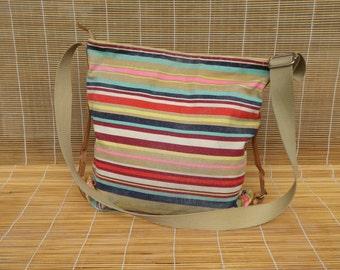 Vintage Striped Canvas Shoulder Strap Bag Zip Up Top Purse Bucket Bag
