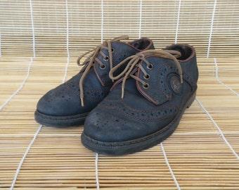 Vintage Lady's Blue Leather Flat Derby Shoes Size EUR 36 US Woman 6