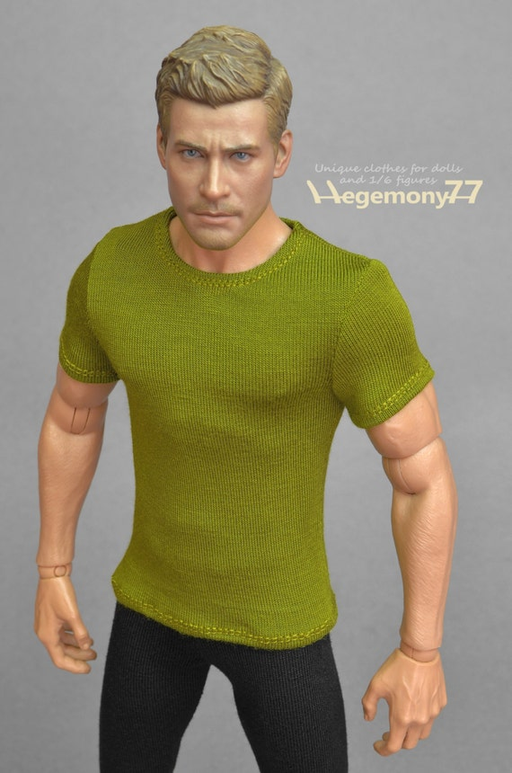 1/6th scale green T-shirt for: collectible movable action figures and male fashion dolls