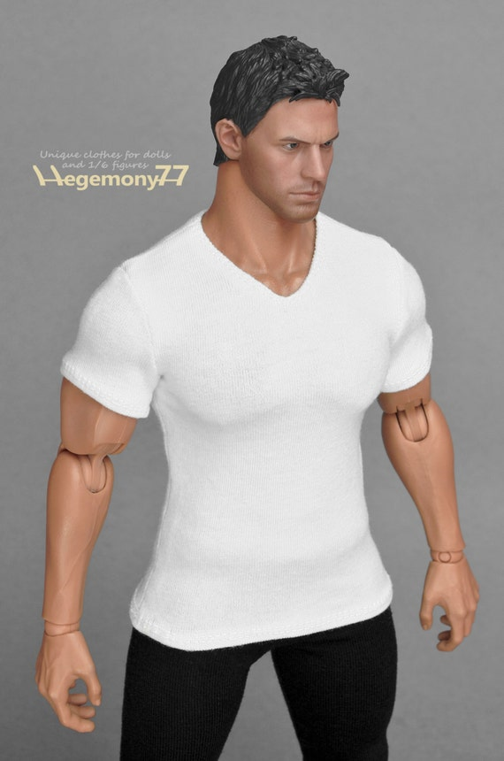 1/6th scale XXL white V-neck T-shirt for: Hot Toys TTM 20 size bigger action figures and male fashion dolls