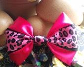 Neon Pink Hair Bow. Leopard Print Hair Bow. Pink Leopard Print Bow. Black Hair Bow. Animal Print Bow. Cheetah Print Bow. Handmade Hair Bow.