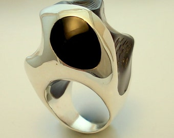 Ebony And Ivory RING.Silver Art.