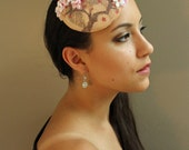 Cherry Blossom Peach Fascinator Hat - Hand Painted - One of a Kind
