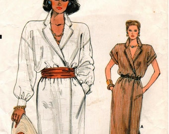 Vintage Very Easy Very Vogue Pattern 9007 - Misses Loose-Fitting, Wrap Dress with Dropped Shoulders - 8-12