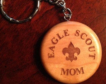 Eagle Scout Round Maple Keychain - Custom Laser Engraved