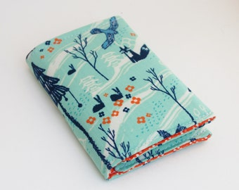 Business Card Holder,Fabric Card Case, Small Vegan Wallet, Foxes and Rabbits, Aqua