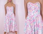 80s Floral Print Dress