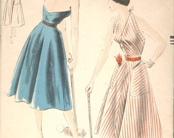 Fab Vintage 1950s Vogue 7079 Halter Sun Dress with Low Back Sewing Pattern B32